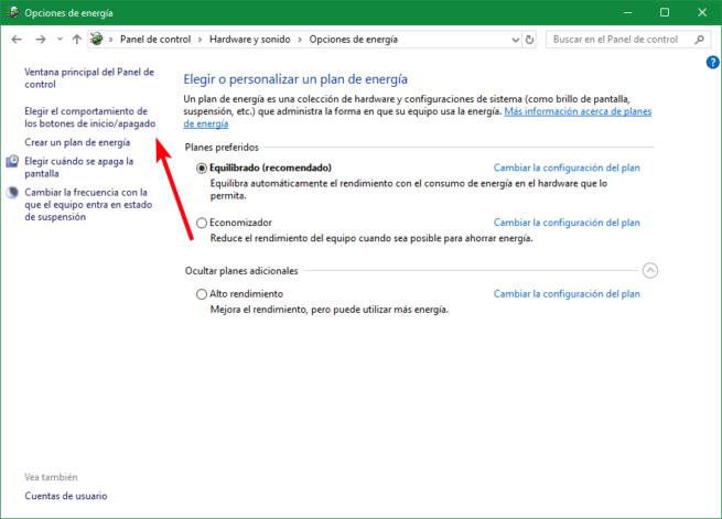 Opciones de comportamiento de botones windows 10