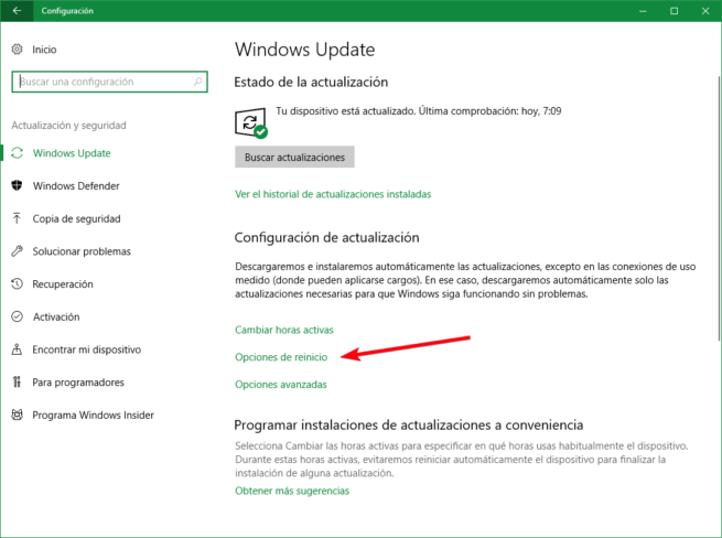 Opciones de reinicio Windows Update Windows 10