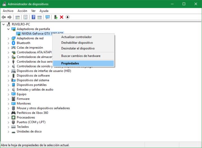 Propiedades controlador Windows 10