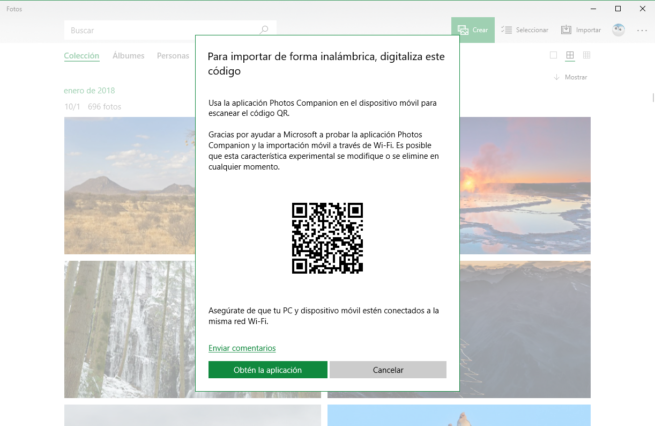 QR Importar fotos Wi-Fi windows 10