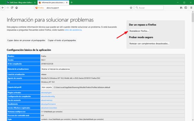 Restablecer datos Firefox