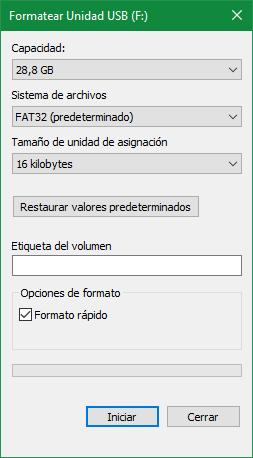 Ventana formatear unidad Windows 10