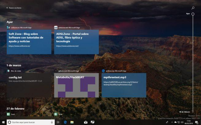Windows Timeline Windows 10 Spring Creators Update