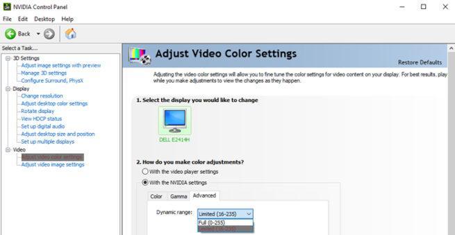 VLC colores
