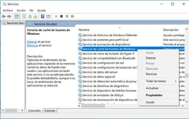 caché de fuentes de windows 10