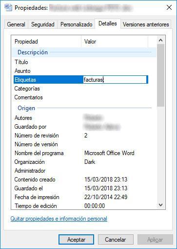 etiquetar archivos