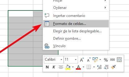 Abrir ventana formato de celdas en Excel
