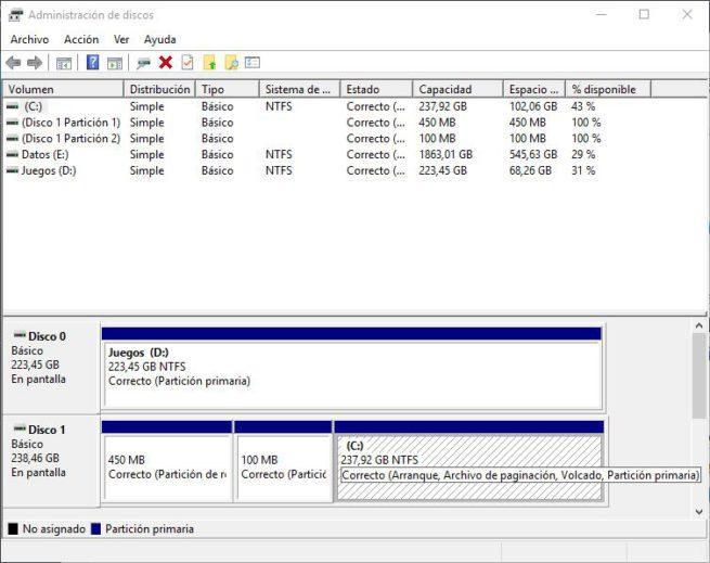 Administrador de discos Windows 10