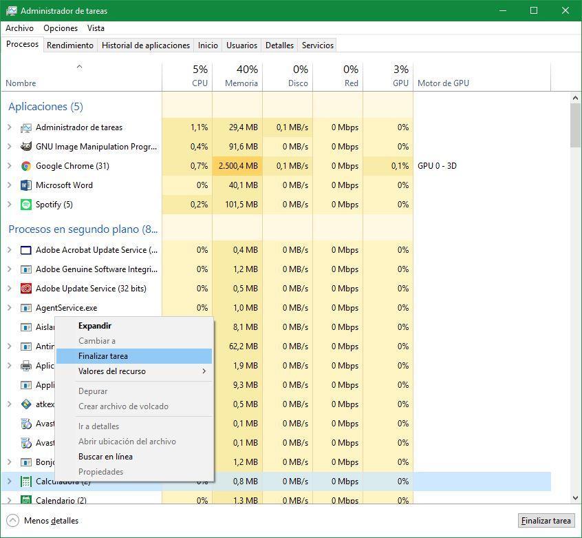 Cómo cerrar aplicaciones y procesos bloqueados en Windows 10