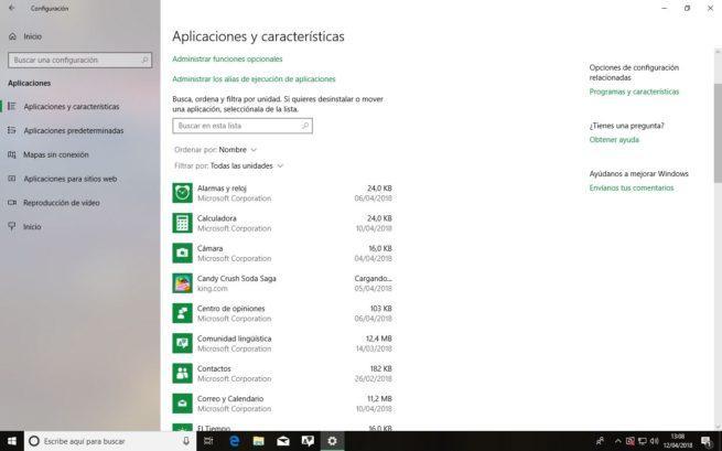 Aplicaciones y características Windows 10 Spring Creators Update