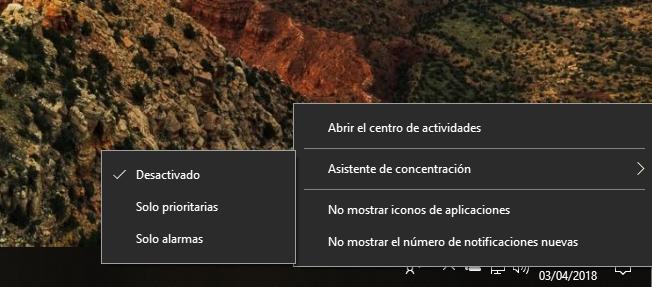 Asistente de concentración Windows 10 Spring Creators Update