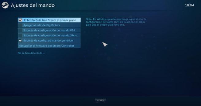 Configurar mando Steam Xinput