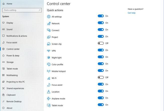 Centro de Control Windows 10 Redstone 5
