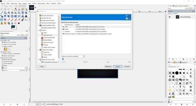 Gimp 2.10 - cambiar iconos y tema