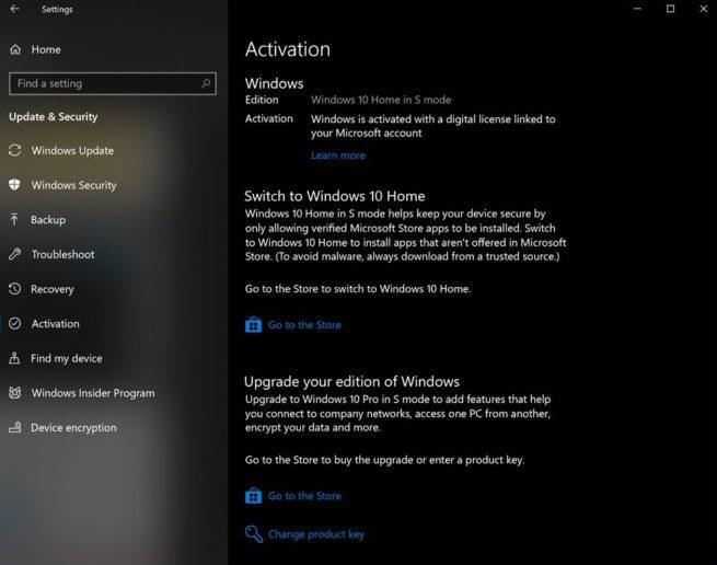 Licencia Windows 10 Modo S
