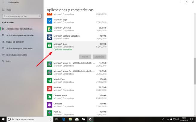 Lista de aplicaciones instaladas Windows 10 Spring Creators Update