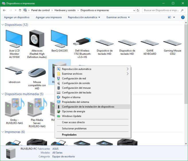 Propiedades equipo Panel de Control Windows 10