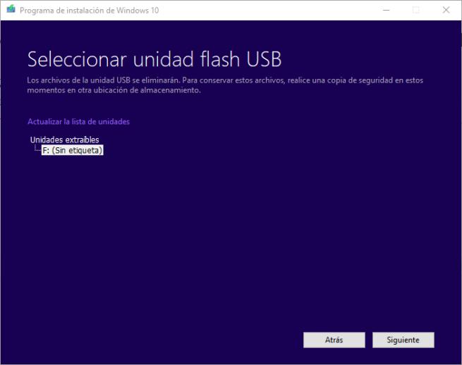 Windows 10 Spring Creators Update - Elegir USB para grabar