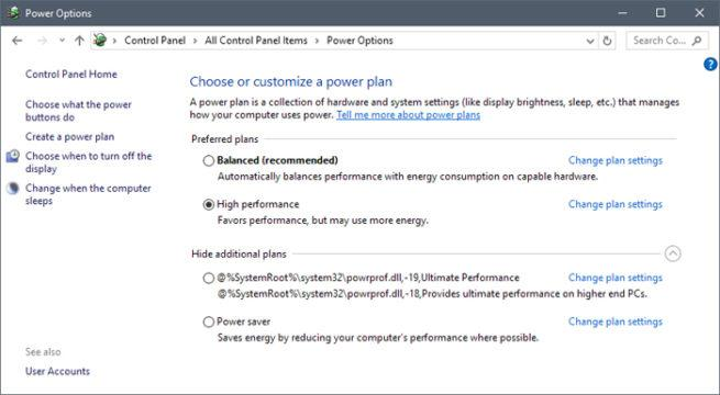 Windows 10 plan energético