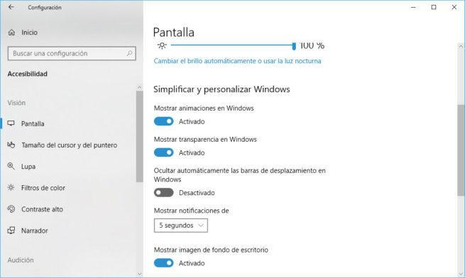 barras de desplazamiento en windows 10