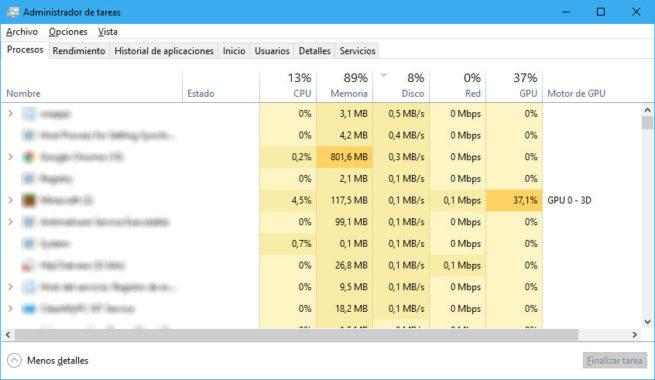 uso de la GPU en Windows 10