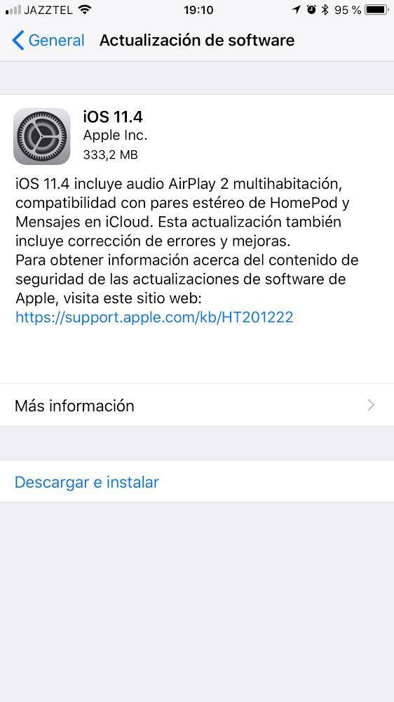 Actualizar iOS 11.4