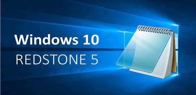Bloc de Notas Windows 10 Redstone 5