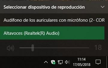 Cambiar altavoces cascos Windows 10