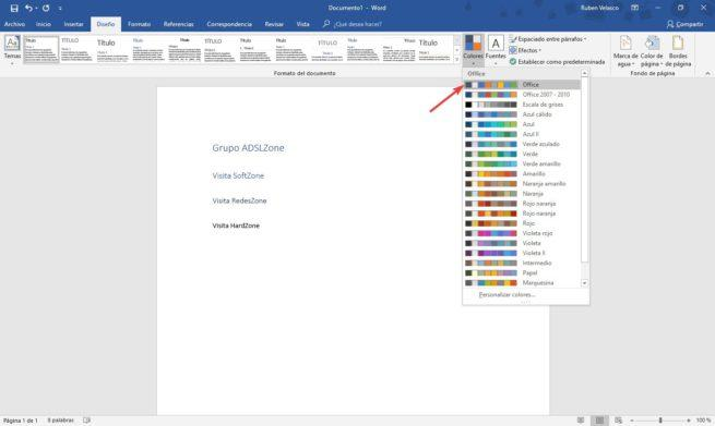 Cambiar paleta de colores Word 1