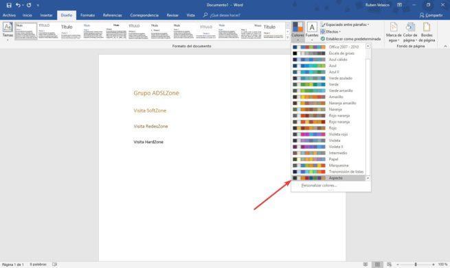 Cambiar paleta de colores Word 2