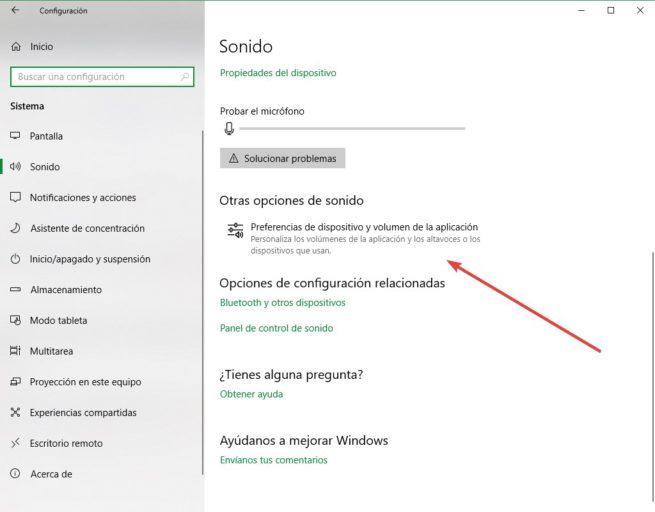 Configuración Sonido Windows 10