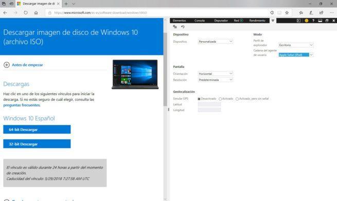 Descargar ISO Windows 10 sin herramienta de creación de medios Edge
