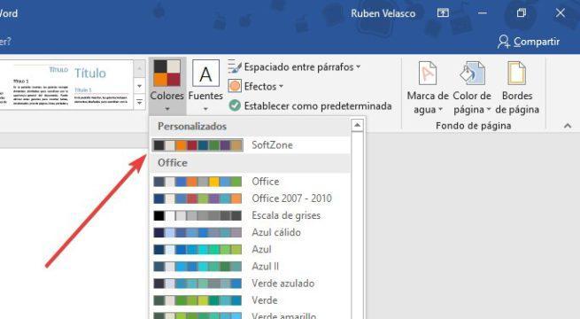 Elegir paleta de colores SoftZone