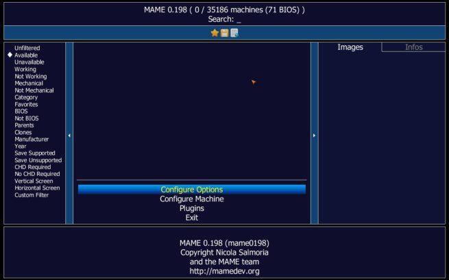 Interfaz emulador MAME