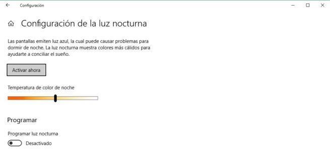 Luz nocturna Windows 10