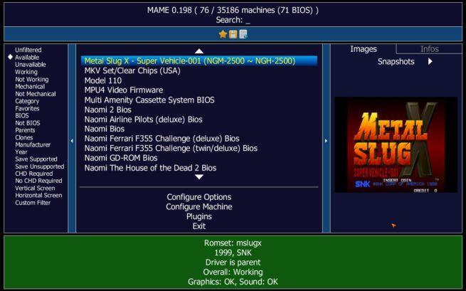 MAME juegos con captura SNAP