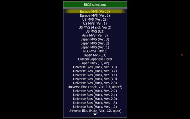 MAME seleccionar BIOS Metal Slug X