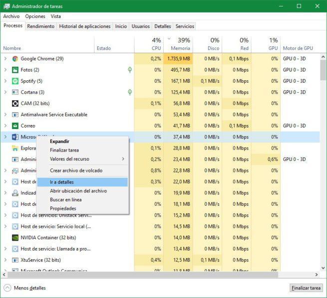Procesos Administrador de tareas Windows 10