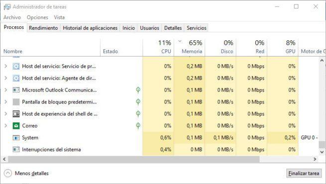 Procesos suspendidos Windows 10 April 2018 Update