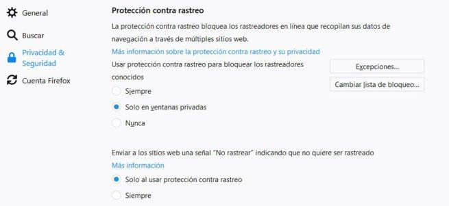 Protección rastreo Firefox 60