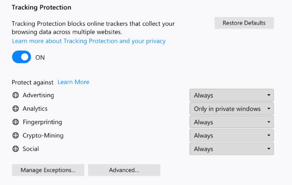 Protección rastreo Firefox 63