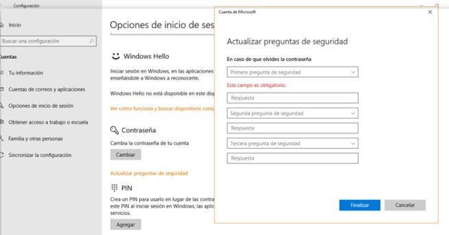 Contraseñas Windows 10