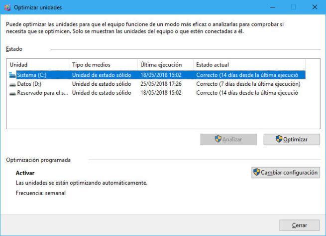 Optimización automática del disco
