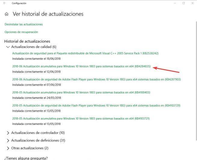 Actualización KB4284835 Windows 10 April 2018 Update