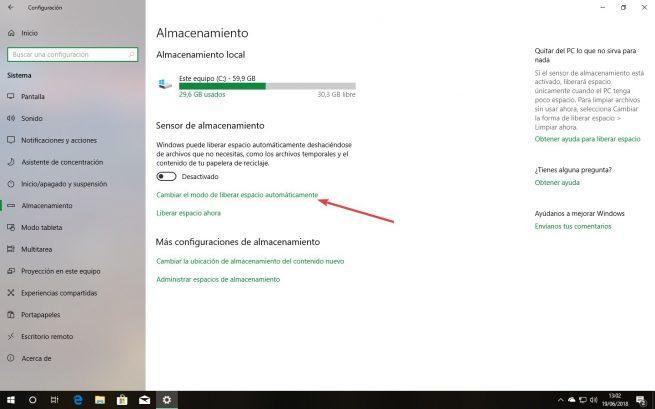 Ajustes sensor almacenamiento Windows 10
