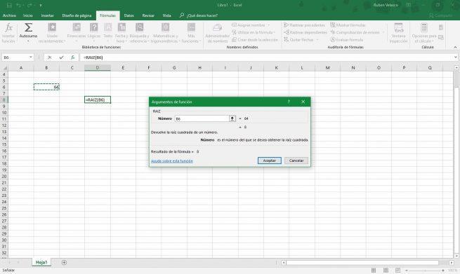 Argumentos función raíz Excel