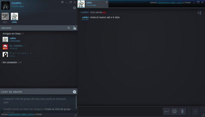 Conversación nuevo chat Steam
