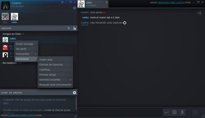Menú contextual nuevo diseño chat Steam
