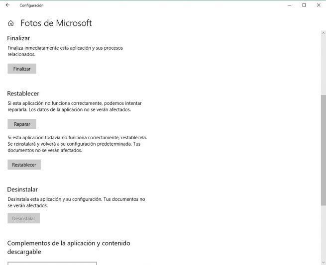 Opciones avanzadas app Fotos Windows 10
