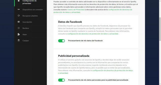 Opciones privacidad Spotify